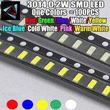 100 pces novo 3014 0.2 w 3.0*1.4mm 2.0-3.2 v vermelho/verde/gelo azul/branco/amarelo gelo azul/branco frio/rosa/branco quente smd led kit