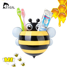 FHEAL Creative Cartoon Bee Toothpaste Holder Bathroom Sets Suction Hooks Tooth Brush Holder Bathroom Accessories(China)