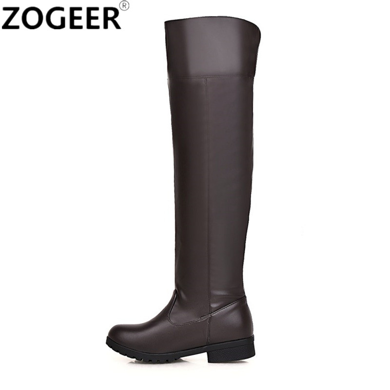 Image 4 - Plus size 48 Snow Boots Women Fashion Knee High Boots For Women Casual Platform Low Heels Ladies Long Shoes winter footwearKnee-High Boots   -