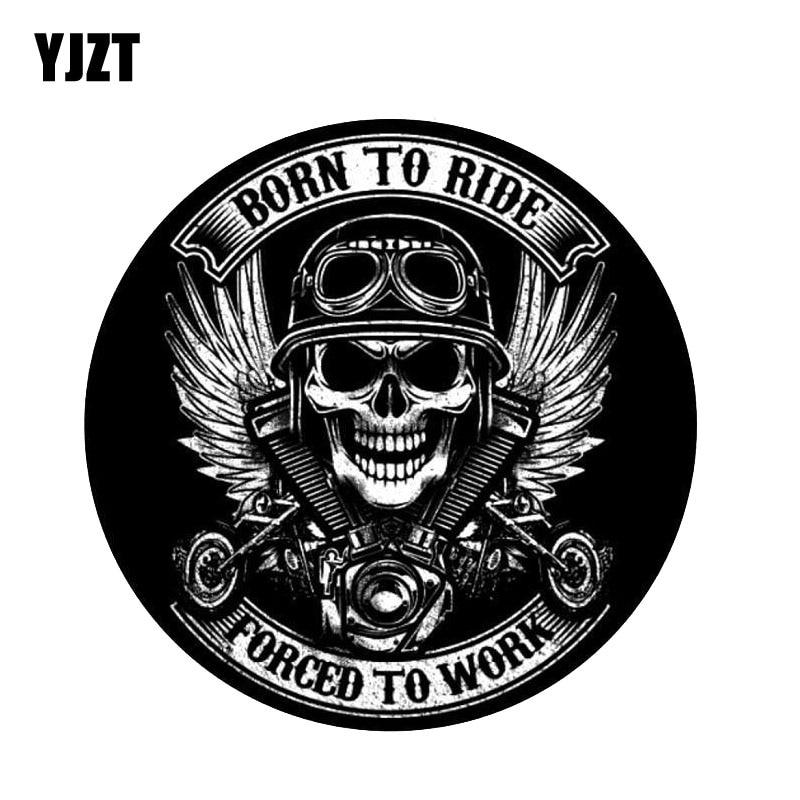 YJZT 12CM*12CM BORN TO RIDE Skull Car Sticker Funny Decal Car Accessories 6-2255