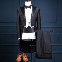 Смокинг фрак для Для мужчин Жених индивидуальный заказ Slim Fit Для мужчин костюмы для свадьбы и выпускного этап Модельер комплект из 3 предмет
