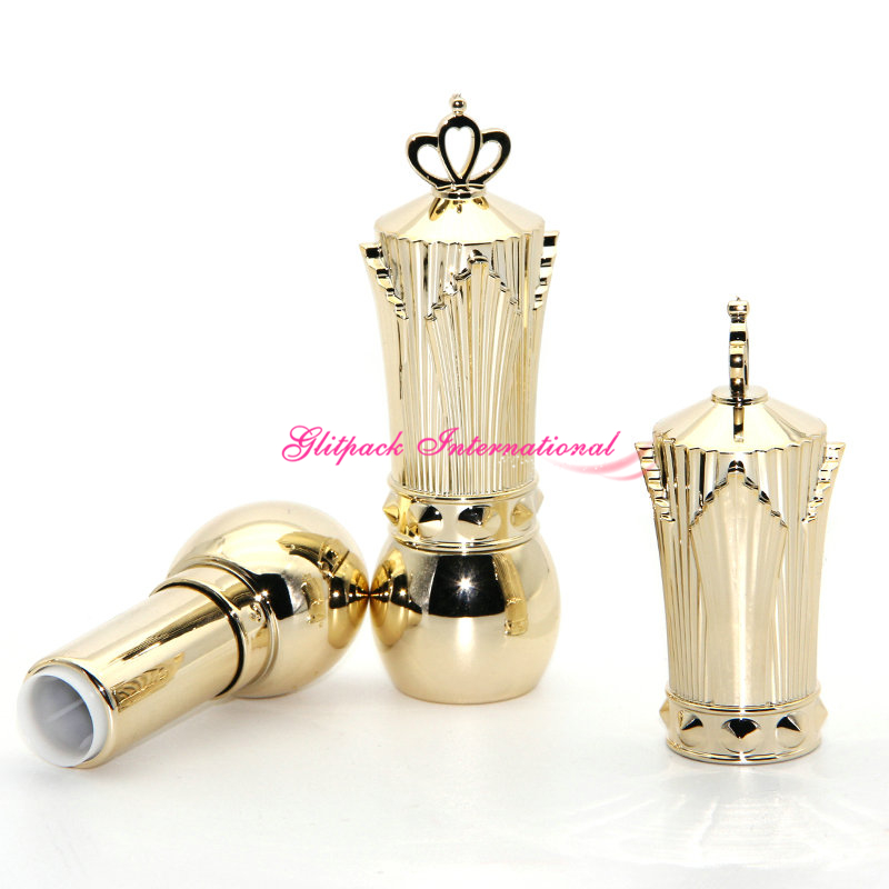 NEW 50pcs/lot Shiny Gold Glossy golden lipstick tube luxury empty chapstick containers with vintage crown cap 12.1mm cup heavy 100sheets lot new a4 size white blank glossy
