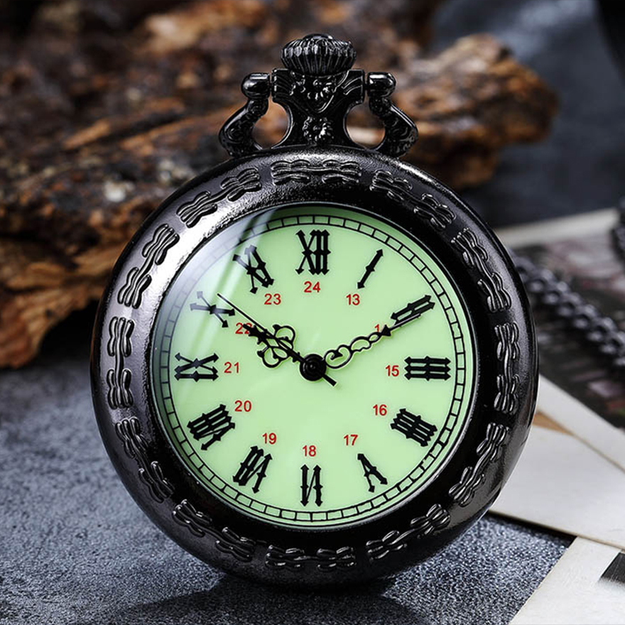 Retro Antique Quartz Pocket Watch Fob Chain Clock For Men Women Steampunk Roman Numerals Dial Necklace Watches Drop Shipping