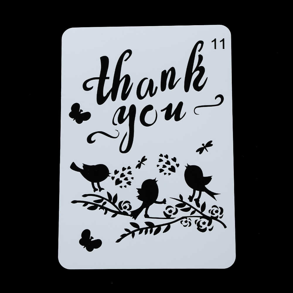 Thank you Parole Stencil Per La Pittura Murale Scrapbooking Stamping Timbro Album Carta Decorativa di Goffratura Decor Template
