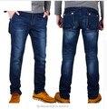 Outono e inverno alta elástica calças jeans Retas Magros calças seção fina multi-bolso ferramental grande metros pés elásticos