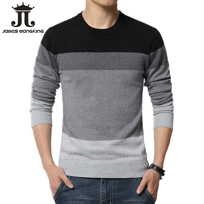 2019 Spring Autumn Casual Men's Sweater O-Neck Striped Slim Fit Knittwear Mens Sweaters Pullovers Pullover Men Pull Homme S-3XL