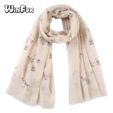 Winfox Pink Grey Bird cage Tree Print Scarves Shawls Wraps Ladies Women Female Hijab Foulard