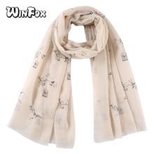Winfox Pink Grey Bird cage Tree Print Scarves Shawls Wraps Ladies Women Female Hijab Foulard