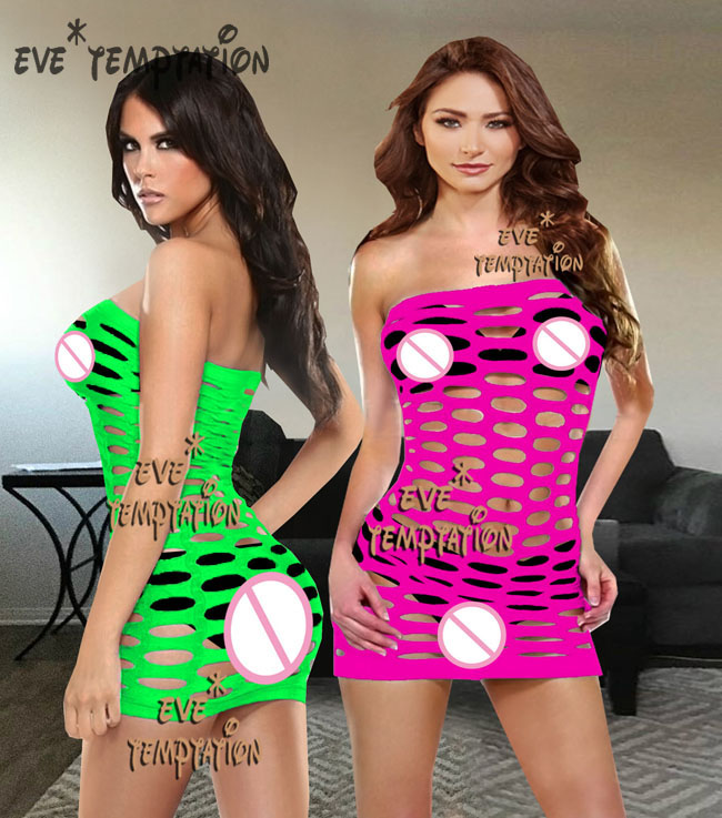 Sexy Fish Net NightgownLingerie Babydoll Dolls Underwear Chemises Nightgown Costumes Sleepwear Teddy  Strapless W049