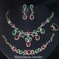 Oro de la vendimia Plateó Rojo Natural de Cristal Verde Collar de Las Mujeres Pendientes Y Sistemas de La Joyería Braclet 4 Unidades Con Zirconia Piedra JS135