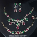 Vintage Gold Plated Natural Red Green Crystal Women Necklace Earrings And Braclet 4 Piece Jewelry Sets With Zirconia Stone JS135