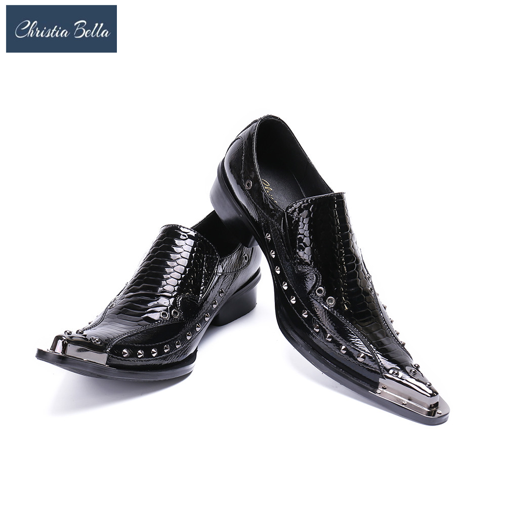 Formal Shoes Mens Pointed Toe Dress Shoes Studded Black White Spiked Loafers Crocodile Skin Men Leather Shoes Iron Toe Formal Wedding Shoes