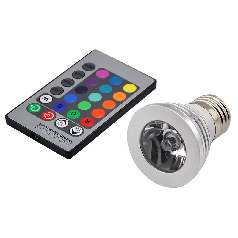 10PCS E27 RGB 16 Color Lights 3W Led Bulb Lamp Spot Light Multicolor With Remote Control For Christmas Xmas Wedding decoration agm rgb led bulb lamp night light 3w 10w e27 luminaria dimmer 16 colors changeable 24 keys remote for home holiday decoration