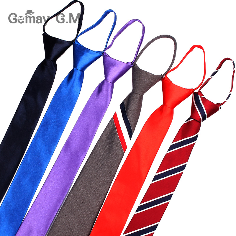 Pre-tied Students Zipper Ties For Men Women Boys Girls Adjustable Slim Men Necktie Solid Red Black Neck Tie