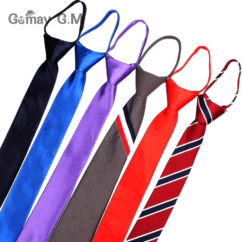 Pre-tied Students Zipper Ties For Men Women Boys Girls Adjustable Slim Men Necktie Solid Red Black Neck Tie