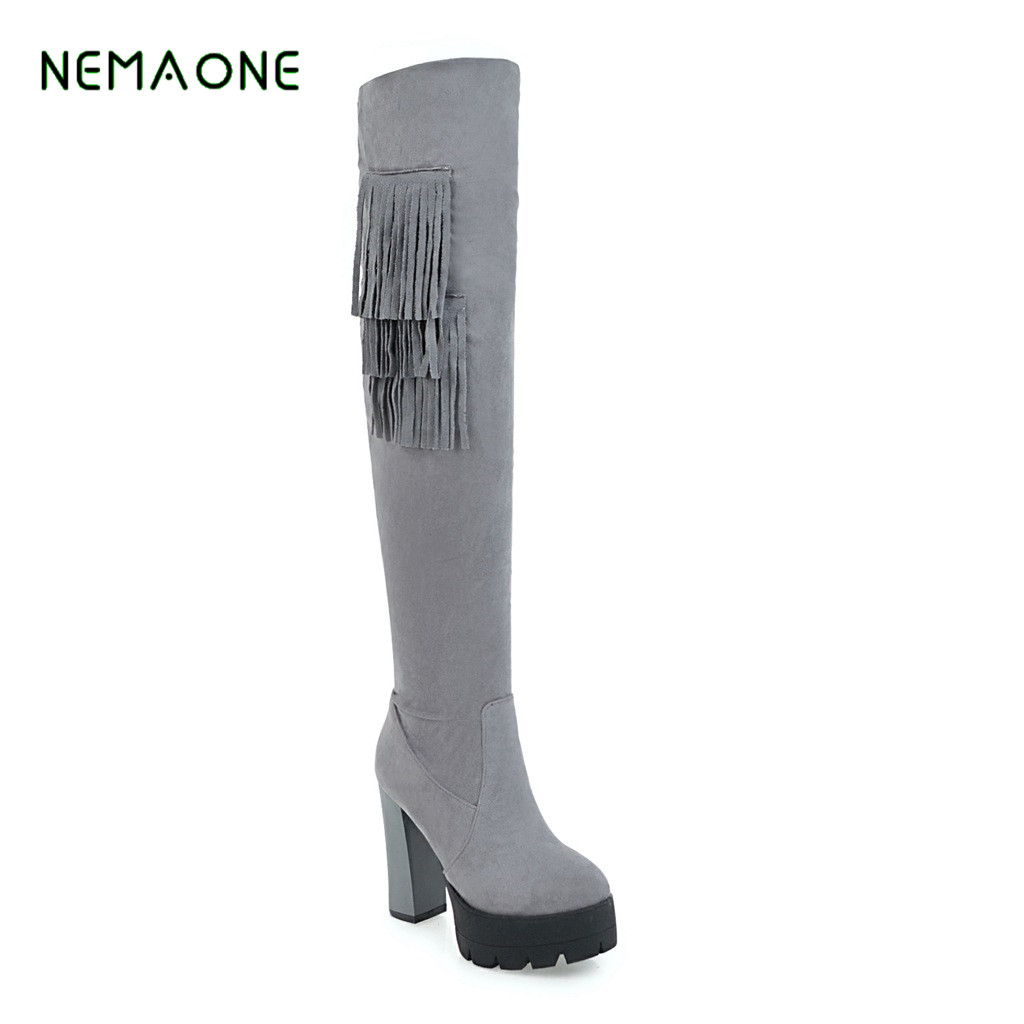 NEMAONE 2017 NEW Over The Knee Boots Womens Sexy Tight Stretch Fabric Thick Heel Style Fashion Thigh High Boots