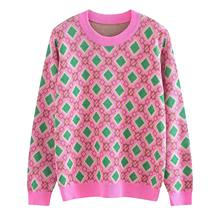 0009bb72bc1870 Vintage Geometric Pattern Pink Sweater Women Slim Jumper 2019 New Spring  Soft Sweater Cotton Pullovers Green Argyle Knit Tops