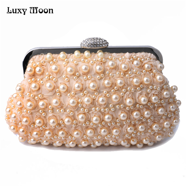 Rose Flower Evening Bags Pvc Pearls Beaded Clutch Bag Las Wedding Party Small Clutches Purse Chains