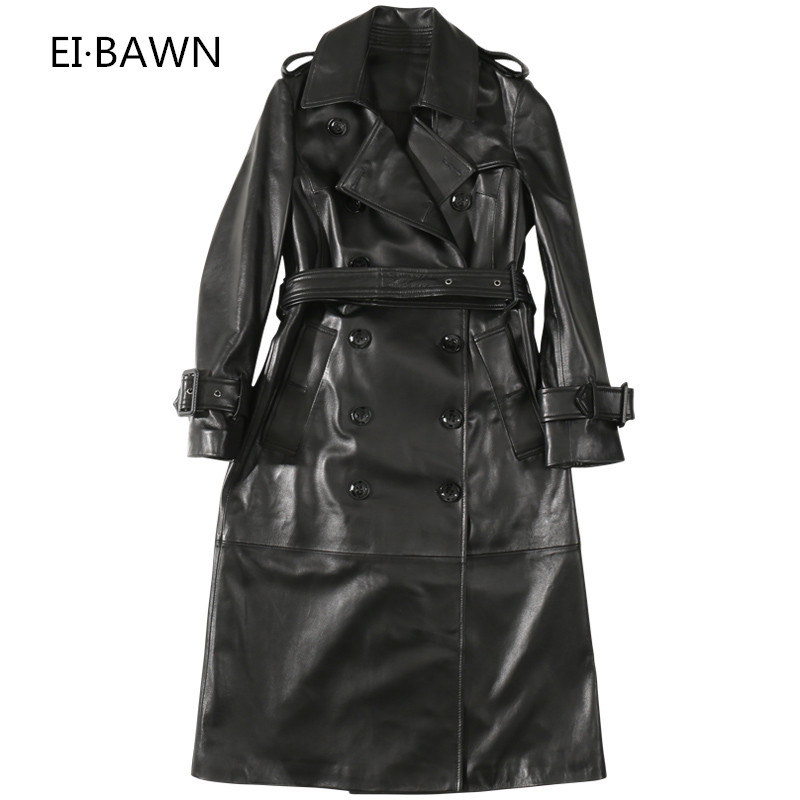 2019 Autumn New Women's Leather Leather Long Section Sheepskin Windbreaker Jacket Slim Double Breasted Real Leather Jacket