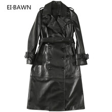 2019 Autumn New Womens Leather Long Section Sheepskin Windbreaker Jacket Slim Double Breasted Real
