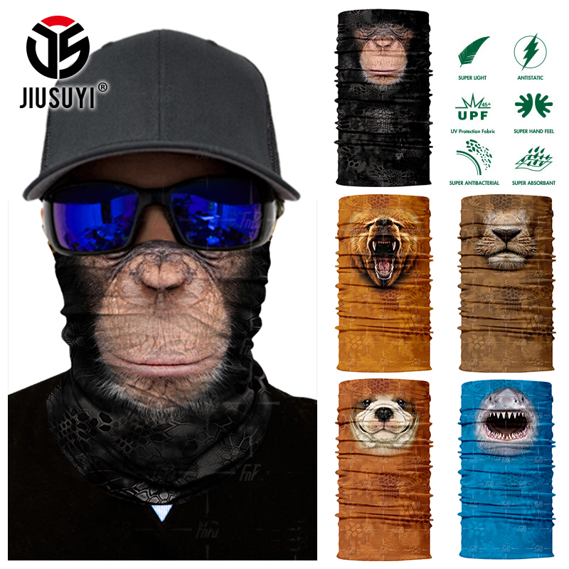 3D Seamless Magic Bandana Animal Monkey Shark Neck Warmer Tube Shield Gaiter Scarf Face Mask Headband Snowboard Bicycle Headwear(China)