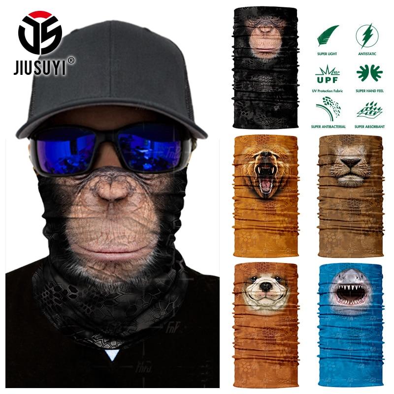 3D Seamless Magic Bandana Animal Monkey Shark Neck Warmer Tube Shield Gaiter Scarf Face Mask Headband Snowboard Bicycle Headwear