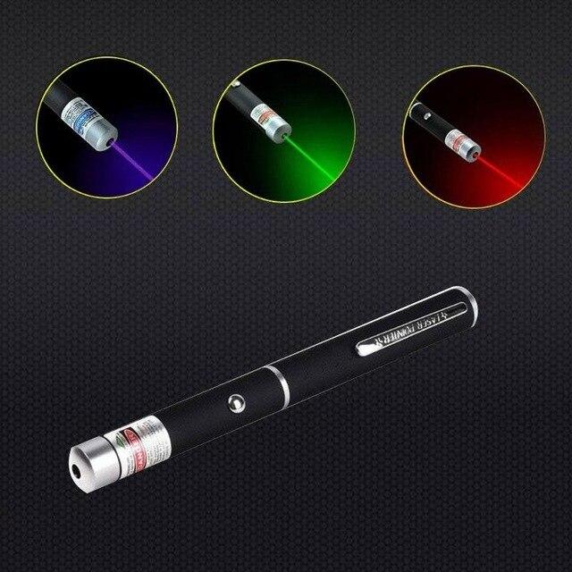 1 pçs 5 mw 650nm vermelho/azul/verde violeta caneta laser poderoso ponteiro laser apresentador remoto lazer caça laser bore sighter
