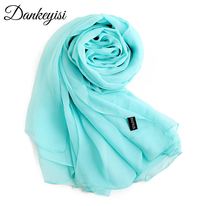 DANKEYISI Luxury Brand Pure Silk   Scarf   Women Oversized Solid Color Women   Scarf   Female Elegant Lady Shawl Long Soft   Scarves     Wrap