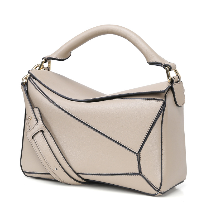 Women's new star with the leather hit color handbags Cross-section the square with leather split leather shoulder bag square cross section of the new square leather small square bag double sided multi color leather messenger bag shoulder messenge