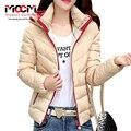 Com capuz contraste cor magro moda zíper de algodão plus size jaqueta 2016 casacos mulheres inverno xxxl 8 cores W131