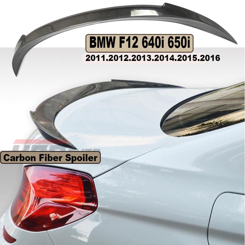HLONGQT Carbon Fiber Spoiler For BMW F12 F13 M6 640i 650i 2011 2017 High Quality Car Rear Wing Spoilers Auto Accessories