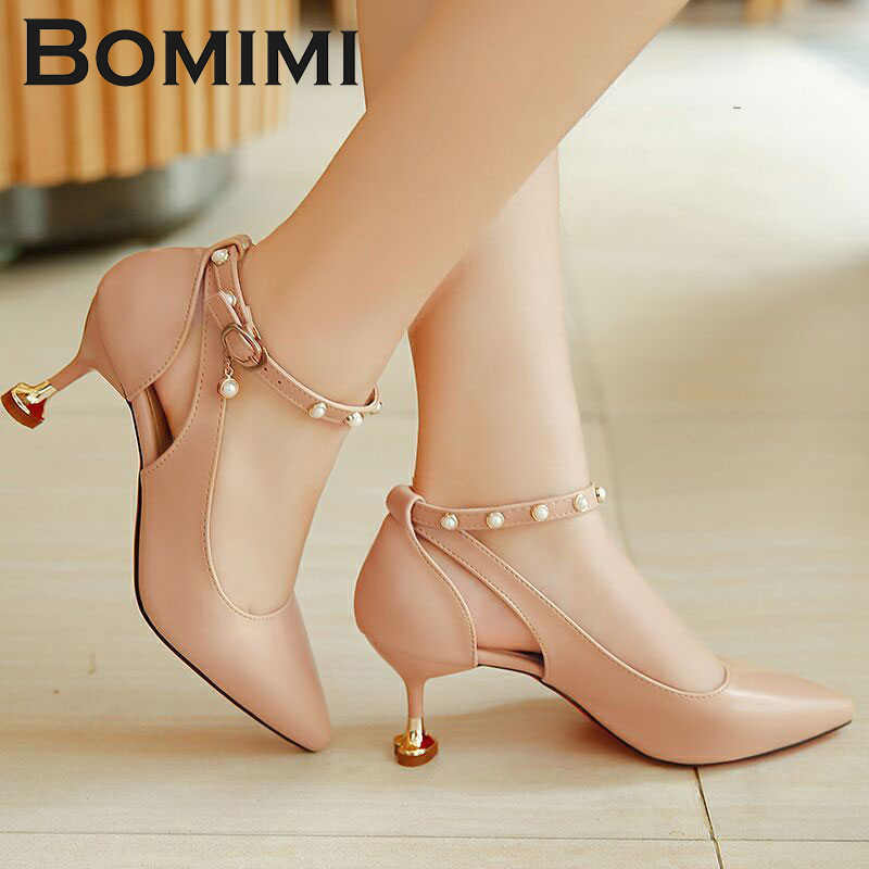BOMIMI Pumps 3-5CM Mid Heel Classic Sexy Pointed Toe Kitten Heels Shoes  Spring Loafers ed16ad3759a