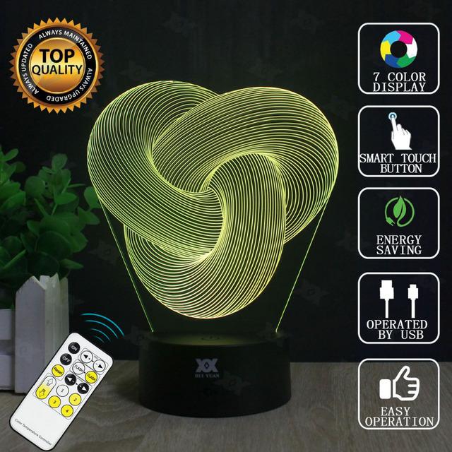 Nó da corda Lâmpada 3D USB Controle Remoto LED Decor Bulbificação Iluminação Novidade Presente De Natal Brilhando HUI YUAN Marca