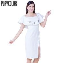 PLAYCOLOR Blanco Elegante Vestidos de Coctel Cortos 2017 del Lado Abierto Vestido Lápiz Mujeres Plug Tamaño Cóctel _ PD1706MM7