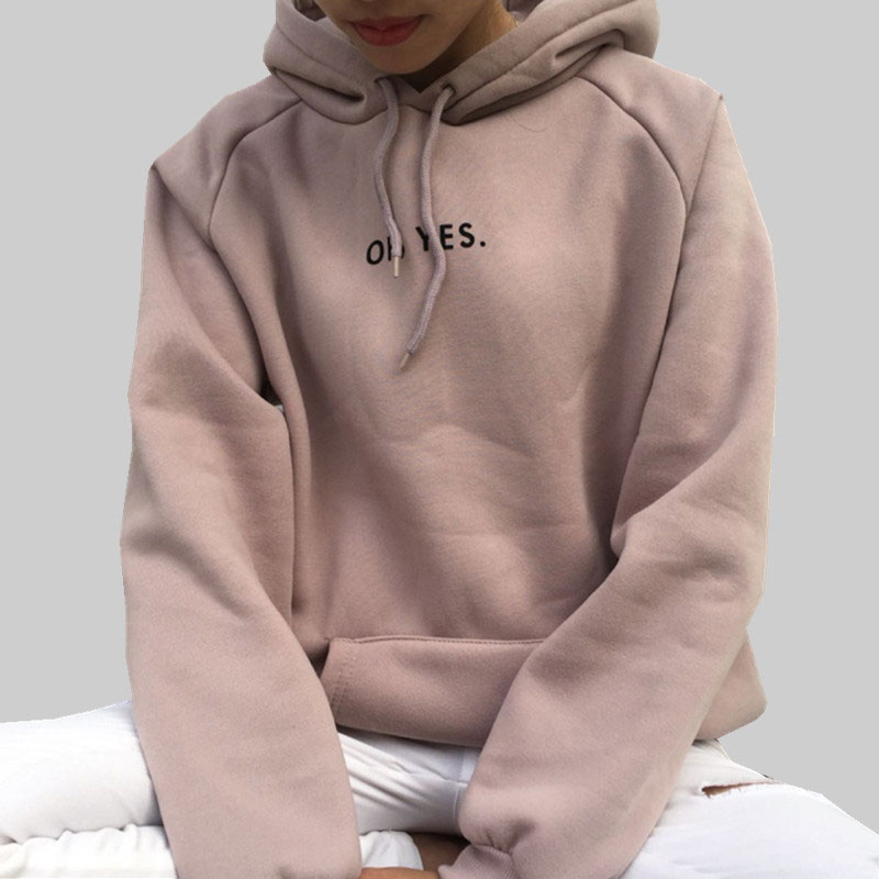 HEE GRAND OH YES 2019 New Long Sleeves Hoodies Letters Print Girls 39 Pink Pullovers Hooded Tops Women Hooded Sweatshirts WWW983 in Hoodies amp Sweatshirts from Women 39 s Clothing