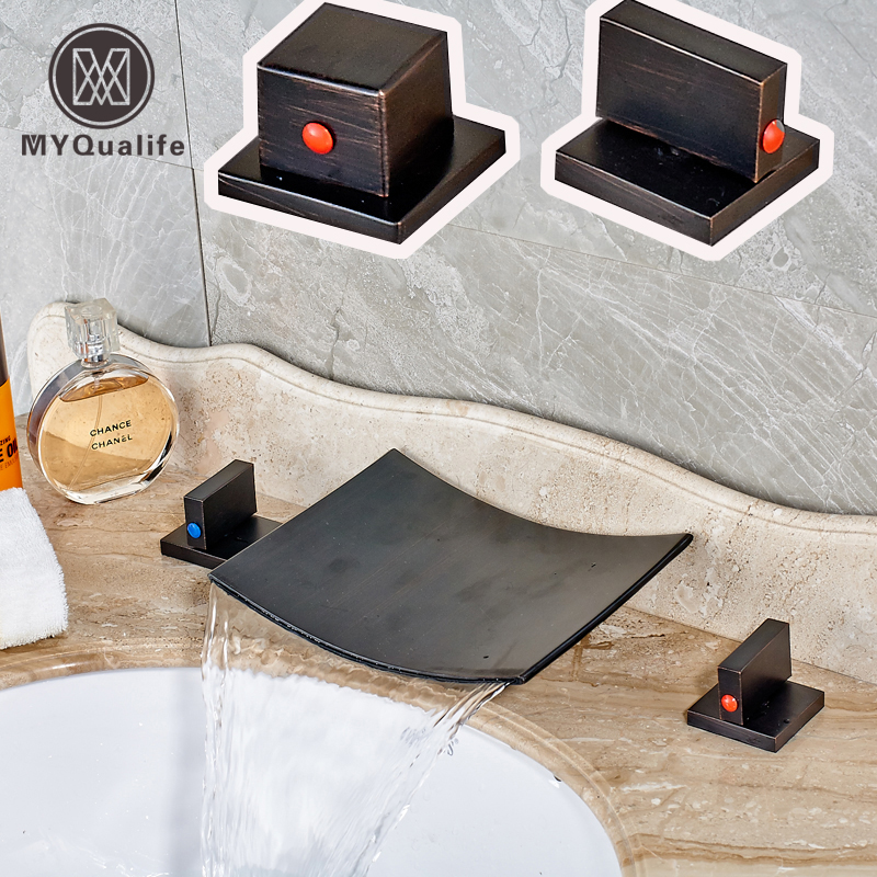 Wholesale and Retail Waterfall Bathroom Basin Faucet Double Handles Deck Mounted Wash Basin Mixer Taps wertmark бра