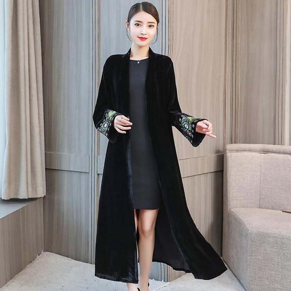 cc40314f14 Elegant Cardigan Velour Dress 2019 Vintage Beaded Embroidery Velvet Dress  Long Sleeve Velour Winter Dress Women Midi Dress DF621