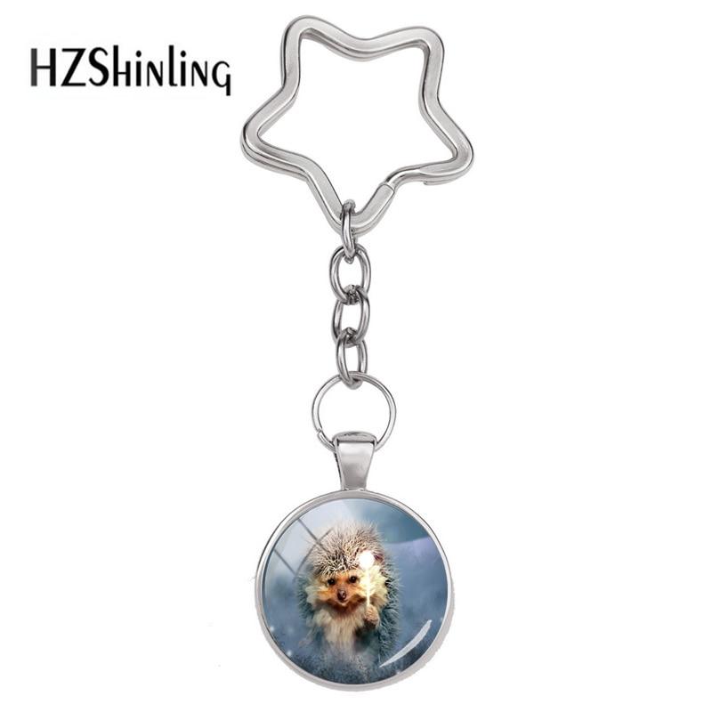 NEW Cabochon Glass Necklace Silver women (cute Hedgehog flower