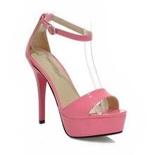 Сексуальный черный розовый orange абрикос желтый супер высокие каблуки глянцевые женщины ню платформы сандалии насосы женская обувь
