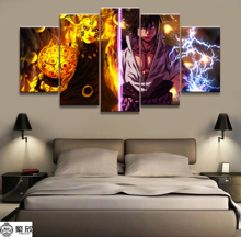 Wall Art Poster Painting Modular Pictures For Living Room Decorative Canvas Printed 5 Panel Cartoon Naruto Sasuke