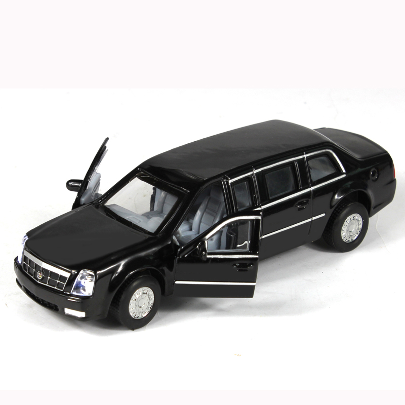 Vehicles 5-7 Years Obama President Handsome Metal Alloy Model Car Models Extended Edition Cadillac Toys Child Funny Toy Cars image