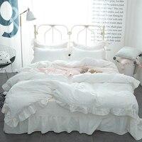 Korean Princess Style Lace Ruffled Duvet Cover Bed Sheet Set 100% Washed Cotton White/Pink/Blue/Solid Color Design Bedding Set