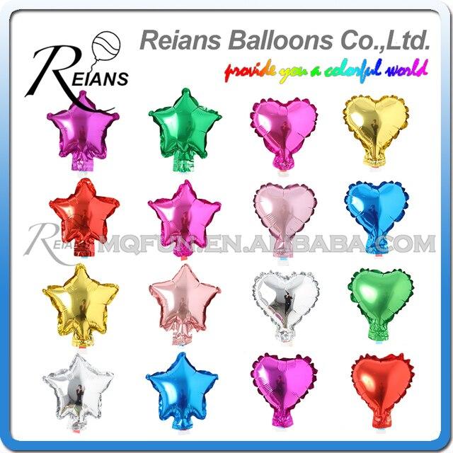 50 pcs/lot 5 Inch Five Star Heart Shape Aluminum Foil Balloons Inflatable Aluminum Balloons Wedding Birthday Party Decoration