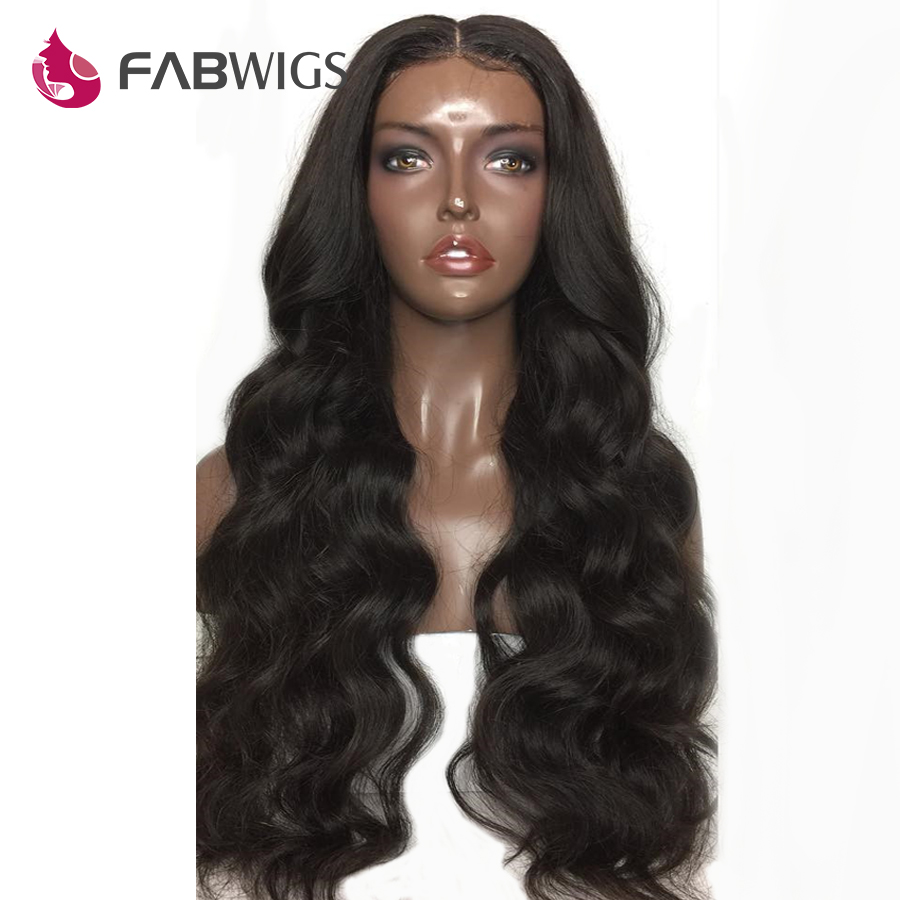 Fabwigs Malaysian Body Wave Full Lace Human Hair Wigs with Baby Hair 180 Density Lace Wigs