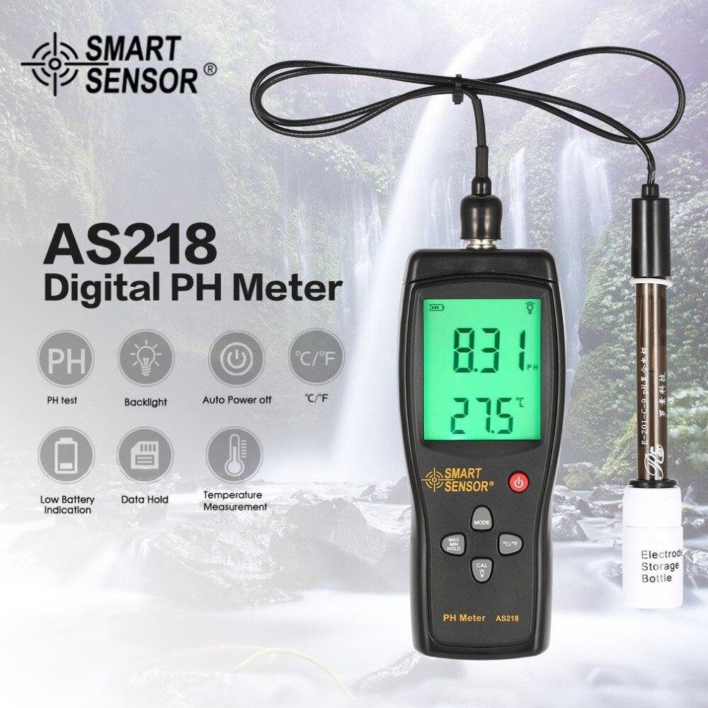 Smart Sensor AS218 Numérique PH Mètre Gamme 0.00 ~ 14.00pH Sol PH Testeur Eau PH Acidité Mètre LCD Affichage Liquide PH Mètre