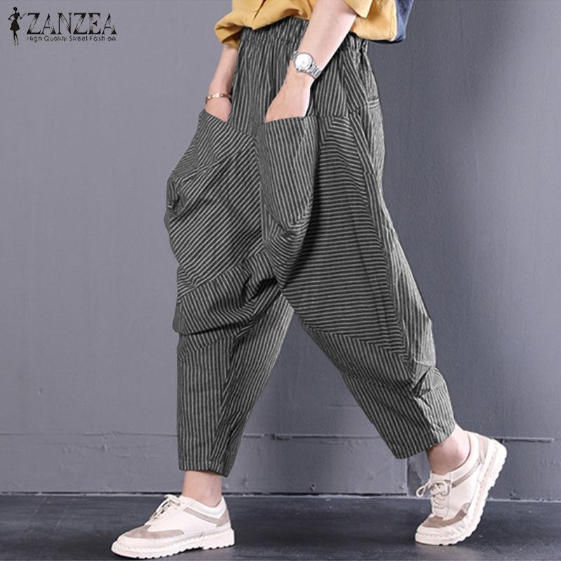 2018 ZANZEA Women Elastic Waist Pockets Vintage Striped Harem Pants Autumn Casual Loose Work Baggy Turnip Trousers Pantalon