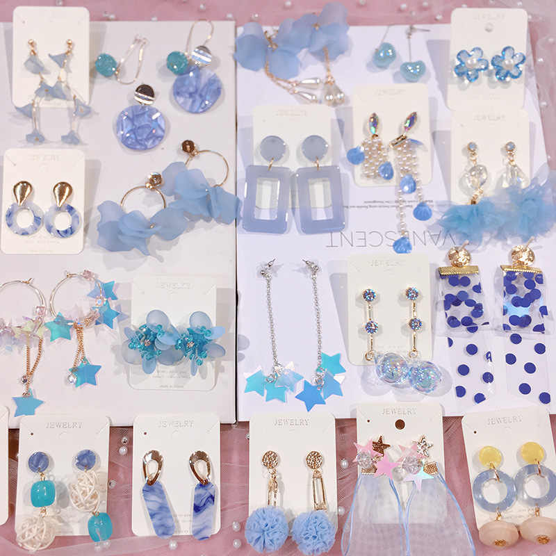Korean Blue Acrylic Bowknot Princess Woman Hanging Dangle Drop Earrings Fashion Jewelry Accessories