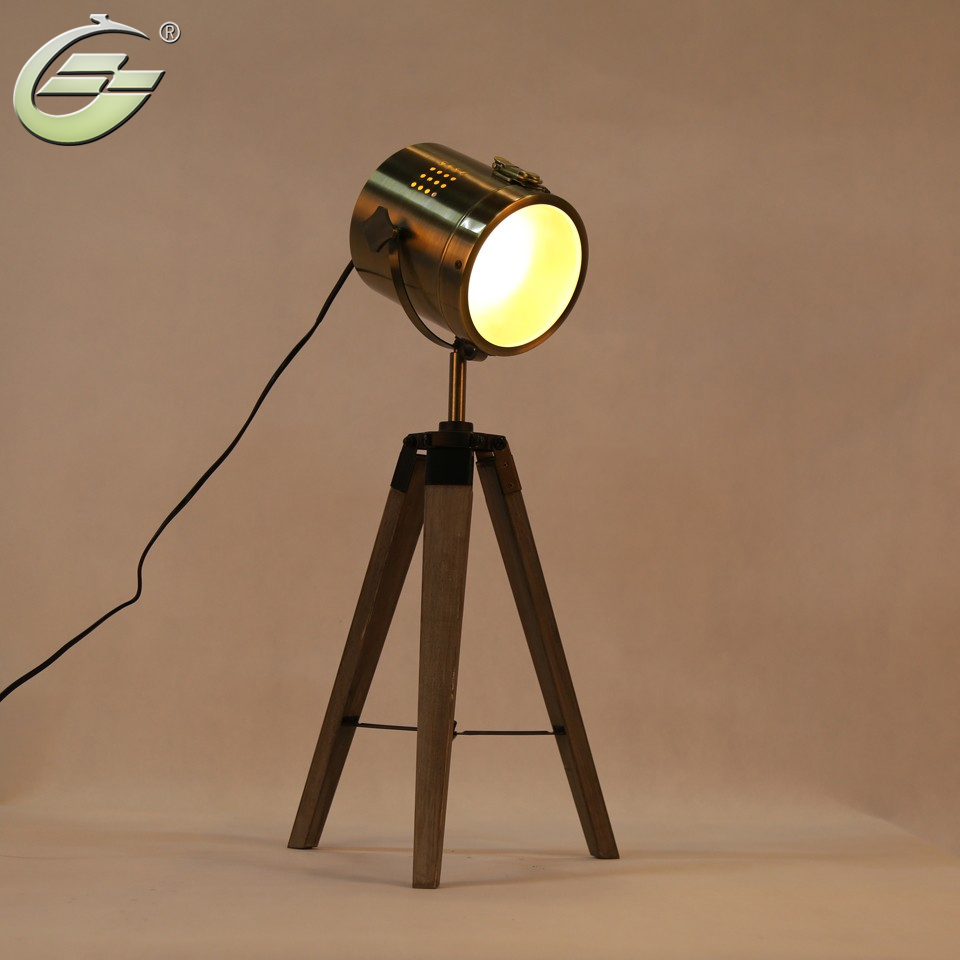 LED Retro Royal Air Force Wood tripod Table Search Light Lantern,Bronze,Free Shipping