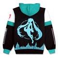 Vocaloid Hatsune Мику Косплей Костюм Черный Рун Молния Куртка С Капюшоном Sweatershirt Пальто Для Женщин Мужчин M-XXL