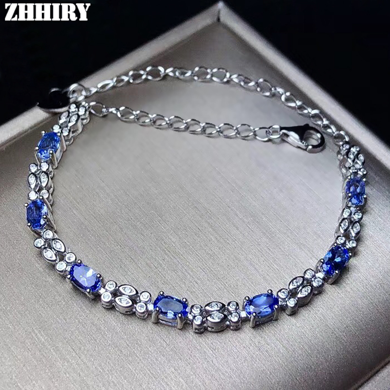 ZHHIRY Wome Natural Blue <font><b>Tanzanite</b></font> <font><b>Bracelet</b></font> Genuine Solid 925 Sterling Silver Colour Gemstone Fine Jewelry image